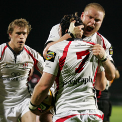 David Pollock, Tom Court, Andrew Trimble. Ulster Rugby